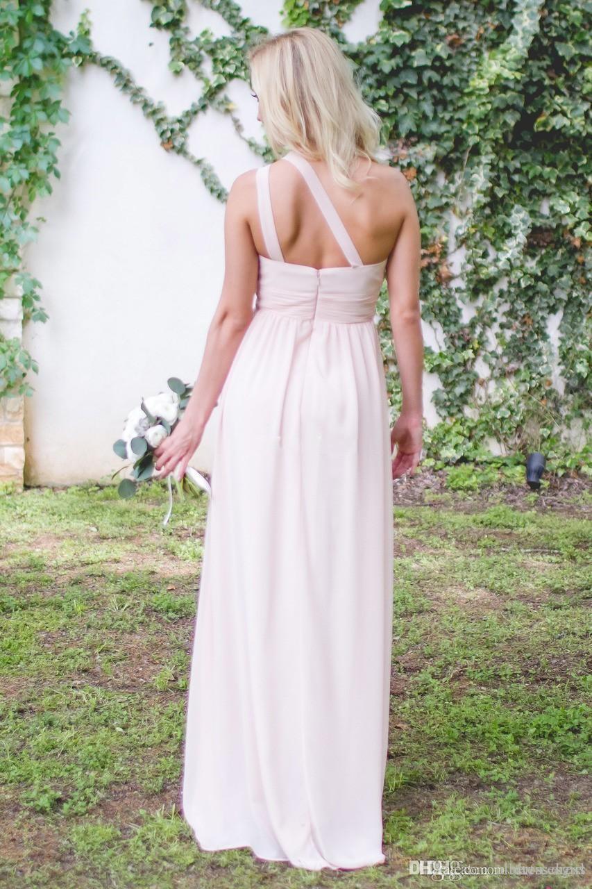 Дорожные платья подружки невесты 2017 розовый одно плечо шифон длина пола горничная честь вечеринка платья дешевая горячая распродажа