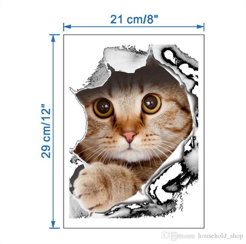 Etiqueta de la pared 3D Gatos Perros Etiqueta impresa para el inodoro de la cocina Refrigerador Calcomanías de animales Cuarto de baño Sala de estar Decoración del hogar