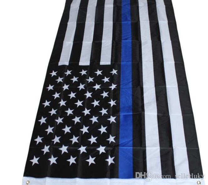 4 Tipos 90 * 150cm BlueLine EUA Polícia Bandeiras 3x5 Bandeira Pé fina de Blue Line EUA Preto, bandeira americana Azul branco e com guarnições de latão