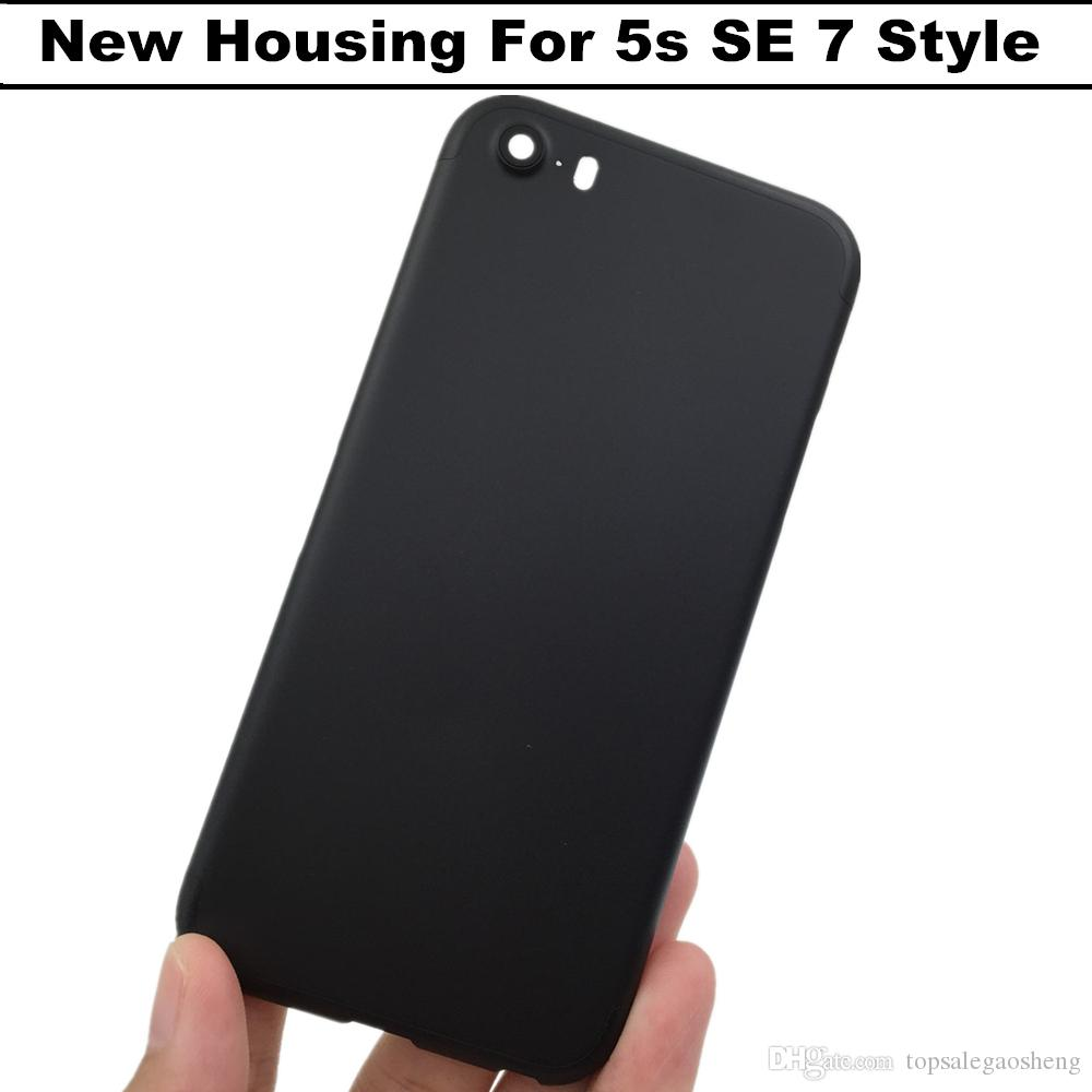 san francisco 6d598 18343 Matte Black Housing For iPhone 5s SE Housing 7 Mini Aluminum Metal Back  Case Battery Door Cover Replacement Like For 5s 7 style