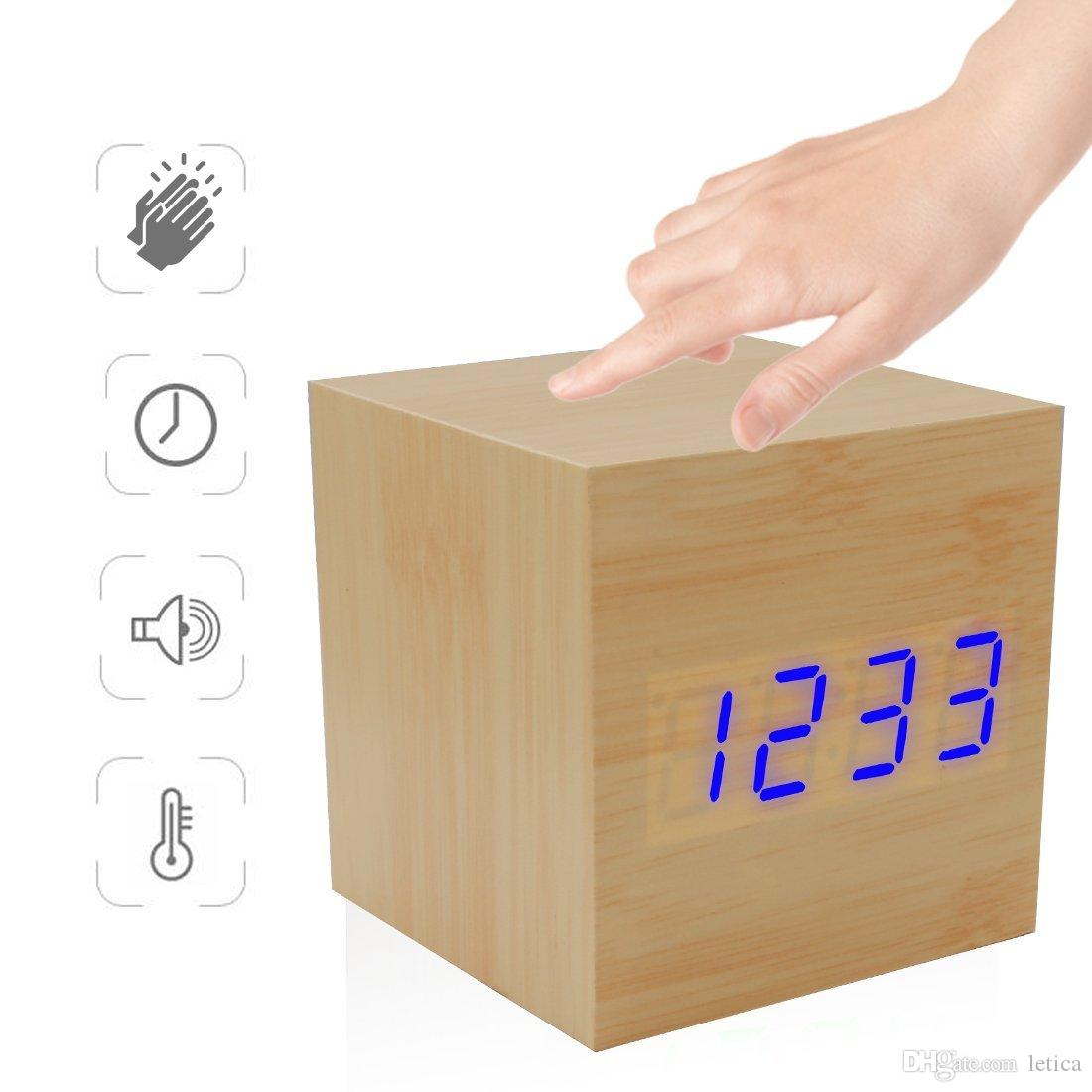 Uncategorized Wood Alarm Clock 2018 digital wooden alarm clock natural wood with led display three alarms function adjustable brightness temperature ti