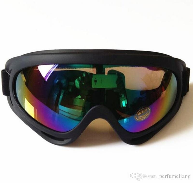 Black Frame Snow Goggles Windproof UV400 Motorcycle Snowmobile Ski Goggles Eyewear Sports Protective Safety Glasses with strap JF-653