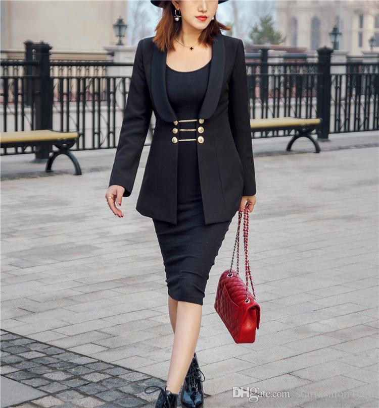 Novo com etiqueta e marca Marca BTop Qualidade Design Original das Mulheres Das Senhoras Das Mulheres Swallowtail jaqueta de corrente de ouro Blazer outwear Fivela de Metal