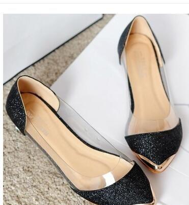 2017 yeni chic metal sivri / kapalı ayak şeffaf parlak sivri Asakuchi bale düz ayakkabı bayan ayakkabıları