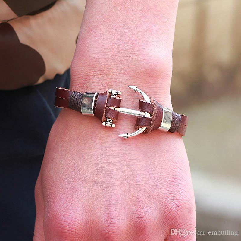 Personality Brown Genuine Cow Leather Wrap Bracelet Charm Men Jewelry Crew Nautical Anchor Navy Ocean Marine Ancla Bracelet Male Accessories
