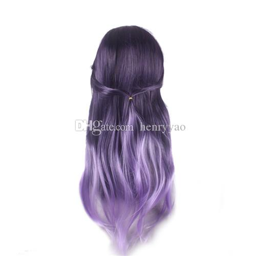 Barato Cosplay pelucas de pelo Mori Girl Long Body Wave Side Bang peluca resistente al calor Cartoon púrpura Ombre peluca sintética