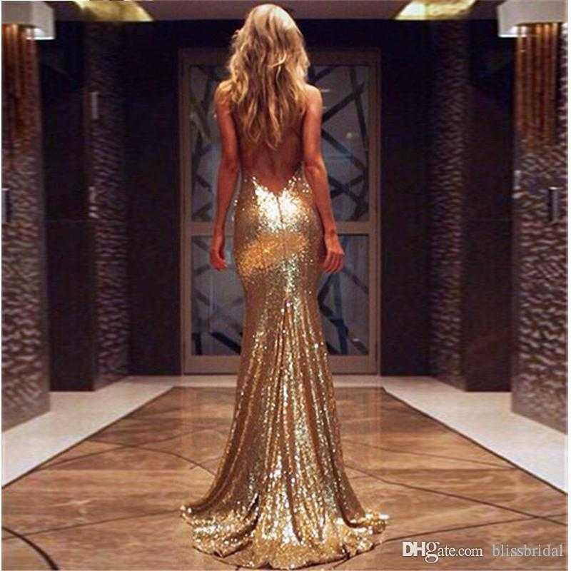 Eye Catching Sexy Bling Bling Evening Dresses Sequins Spaghetti V-Neck Mermaid Formal Party Dress Floor Length Backless Prom Gown