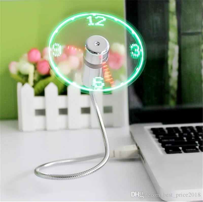 2017 Yeni Mini USB Fan gadgets Esnek Gooseneck LED Saat dizüstü PC Notebook Için Serin Zaman Ekran yüksek kalite dayanıklı Ayarlanabilir