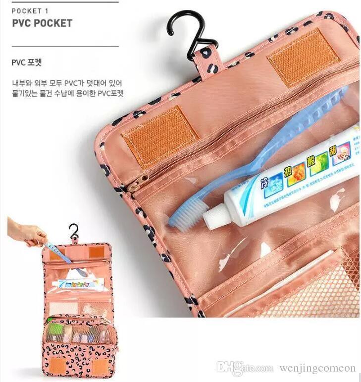 2017 Leopard New Arrival Wash Big Toiletry Women Handbag Travel Hanging Bag Makeup Portable Organizer Large Kit Case Lady Pouch