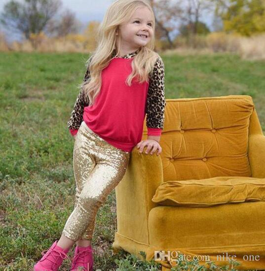 Fille Leggings Enfants Rose Argent Or Legging Leggings Pant 9 Leggings De Couleur Coton Sequin Pants Filles Enfants Printemps Automne Serré Stock