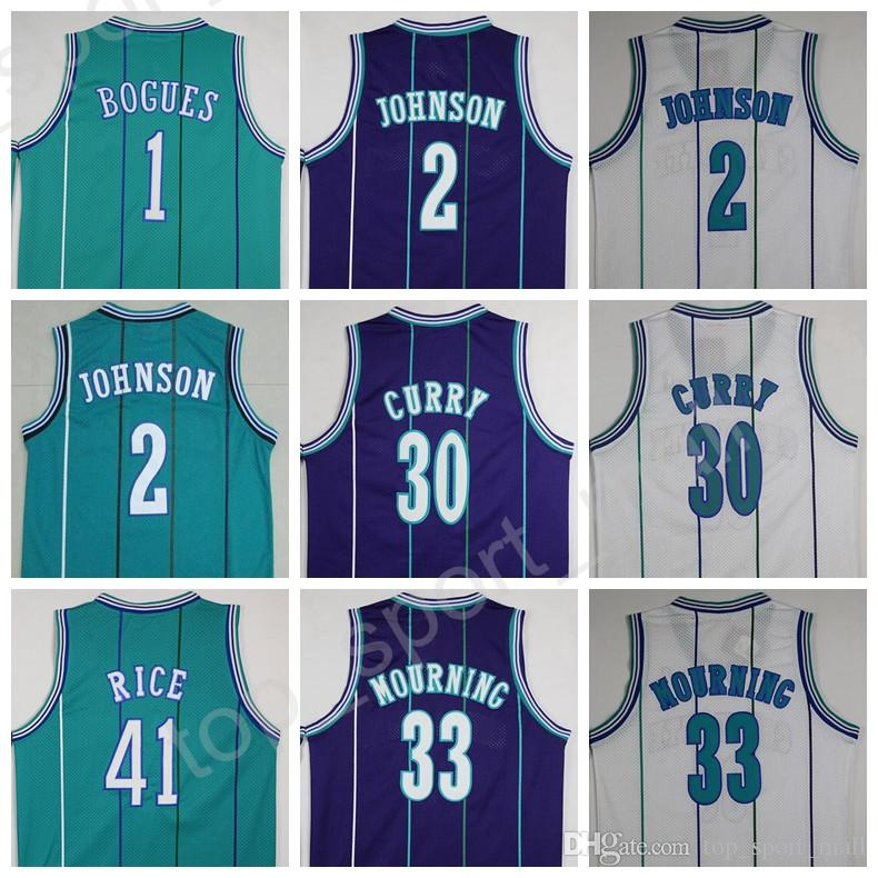 18b913bbffb ... 2017 Men Sale 1 Tyrone Muggsy Bogues Jersey Throwback 2 Larry Johnson  30 Dell Curry 33 Mens Charlotte Hornets ...