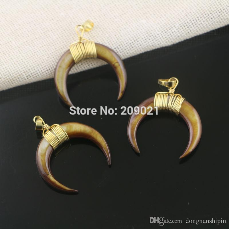 New ~ 8Pcs Gold Plated Wire Wrap Brown Shell Crescent Moon Charms Pendants For Jewelry Finding