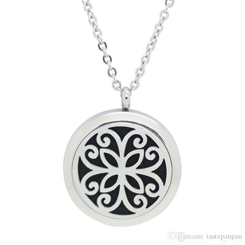 Panpan jewelry! 20mm 25mm 30mm silver essential oil diffuser pendant necklace 316l stainless steel perfume locket aromatherapy pendant