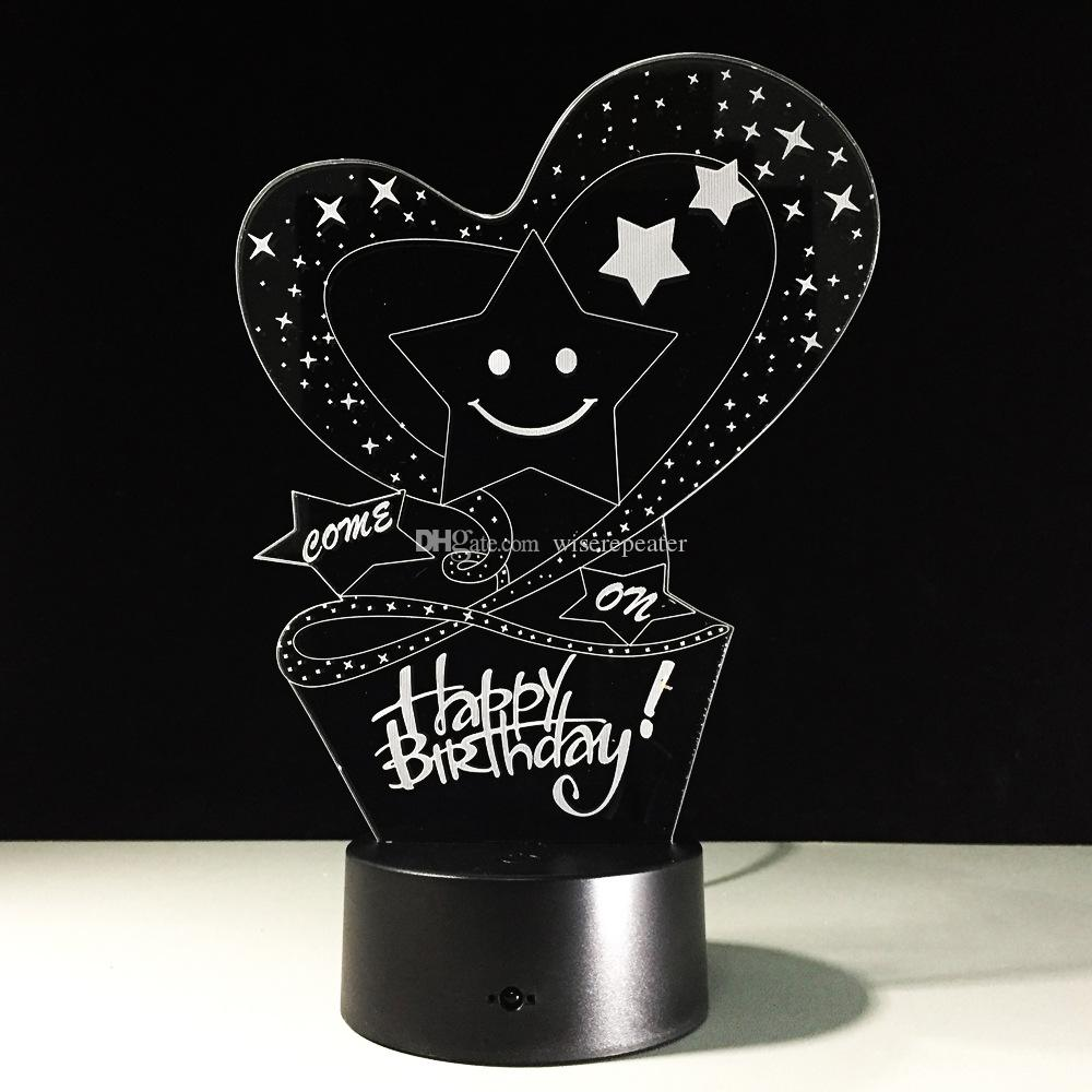 Happy birthday 3D Optical Illusion Lamp Night Light 7 RGB Lights DC 5V USB Charging 5th Battery Dropshipping