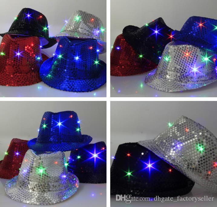 LED Jazz Chapéus Piscando Luz Up Levou Fedora Trilby Lantejoulas Tampas Fancy Dress Dance Party Chapéus homens Festival de Natal Carnaval Trajes