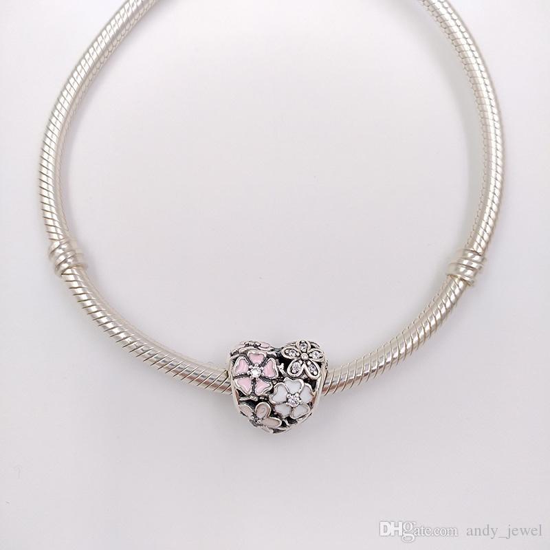 Autentiche 925 perline in argento sterling 925 poetiche Blooms Fascino Adatto a Bracciali europei Bracciali in stile Pandora Collana 791825ENMX