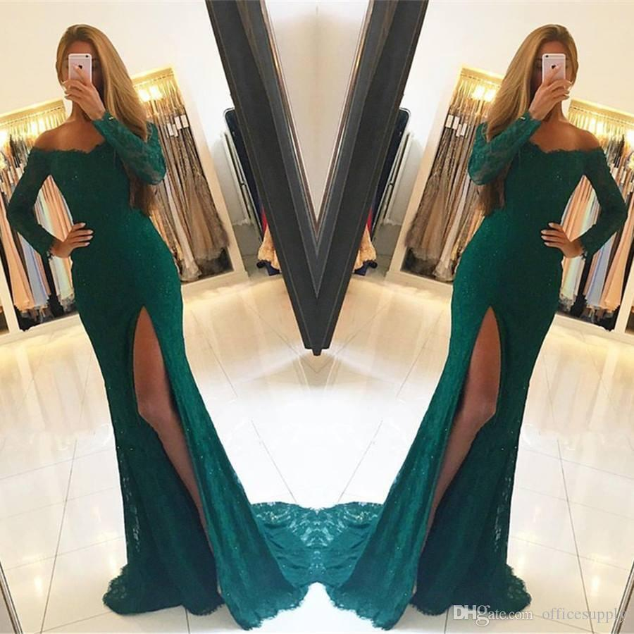 Dark Green Lace Long Sleeves Side Slit Elegant Off The Shoulder Prom ...