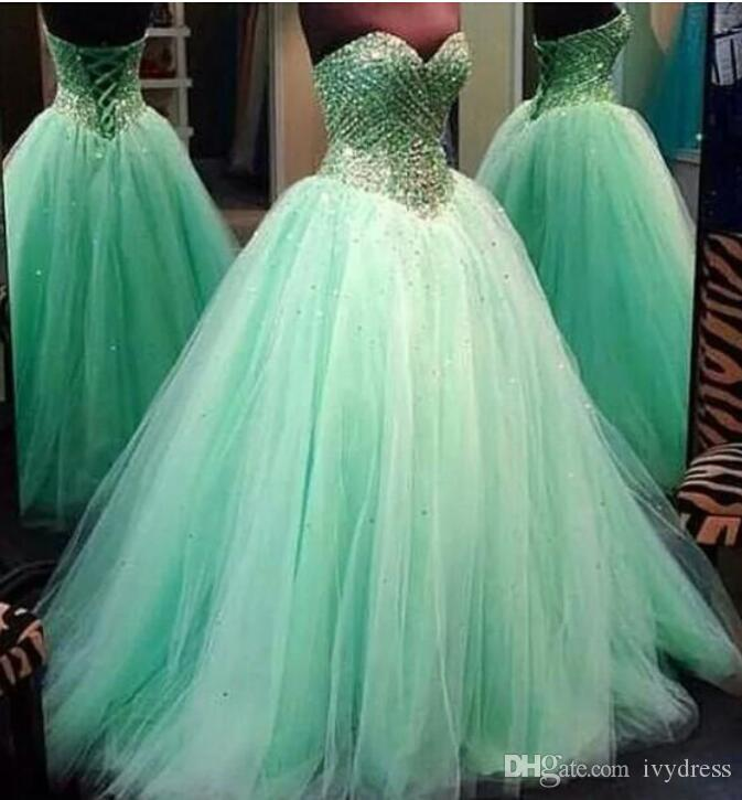 Sweetheart Prom Gowns 2016 Mint Green Ball Gown Real Photos Tulle ...