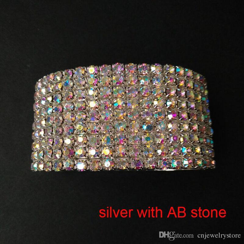 Wholesale nine rows Bangle Wedding Bridal Party Jewelry Crystal Rhinestone Stretch Bracelet Bangle Multi Row Wedding Bracelets