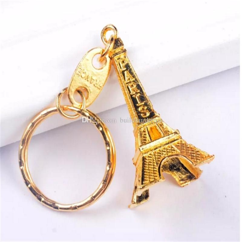 2017 hot high quality Vintage Eiffel Tower Keychain stamped Paris France Tower pendant key ring gifts Fashion Gold Sliver Bronze 2017093001