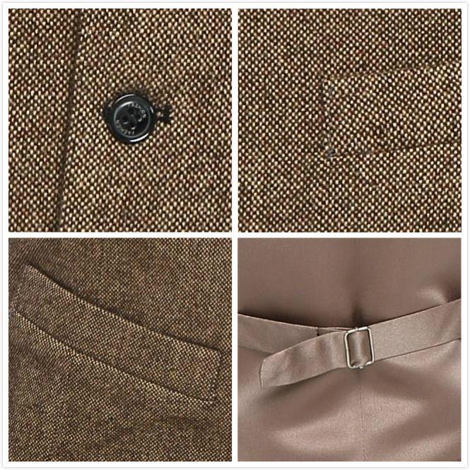 2019 neue Airtailors Markenwesten Vintage Brown Wolle Tweed Westen Für Hochzeit Formale Bräutigam Weste Herrenanzug Weste Plus Größe