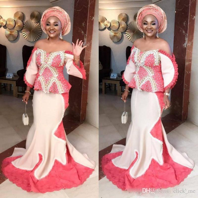 5befbb87ed842 Aso Ebi Plus Size Mermaid Evening Gowns Off The Shoulder Peplum Long Sleeves  Prom Dress Saudi African Formal Party Dress Women Wear Black Evening Dresses  ...