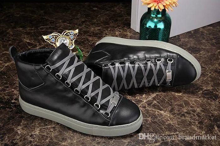 Modedesigner Schuhe New Großhandel High Top Mann Causal Arena Schuhe Snake Skin Leder Weiß Rot Schwarz Wrinkled Leder Drop Shipping