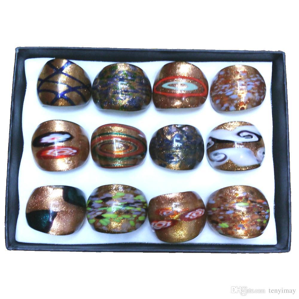 Mélange conçu anneaux de verre de peinture, série d'or de style classique anneaux de Murano Pack de bateau libre