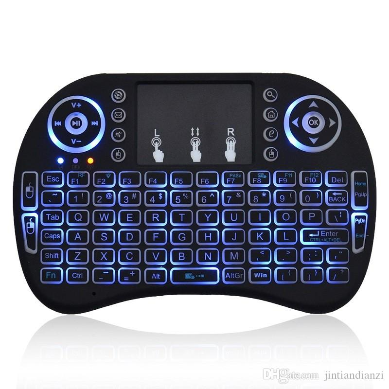 200X Rii I8 Mini teclado Retroiluminación inalámbrica ROJO Verde azul Luz Aire Ratón Remoto Con Touchpad de mano Para T95 M8S S905X S905 TV CAJA A-FS