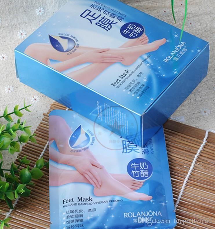 2017 New Rolanjona Milk Bamboo Vinegar Feet Mask Peeling Exfoliating Dead Skin Remove Professional Feet Mask Foot Care