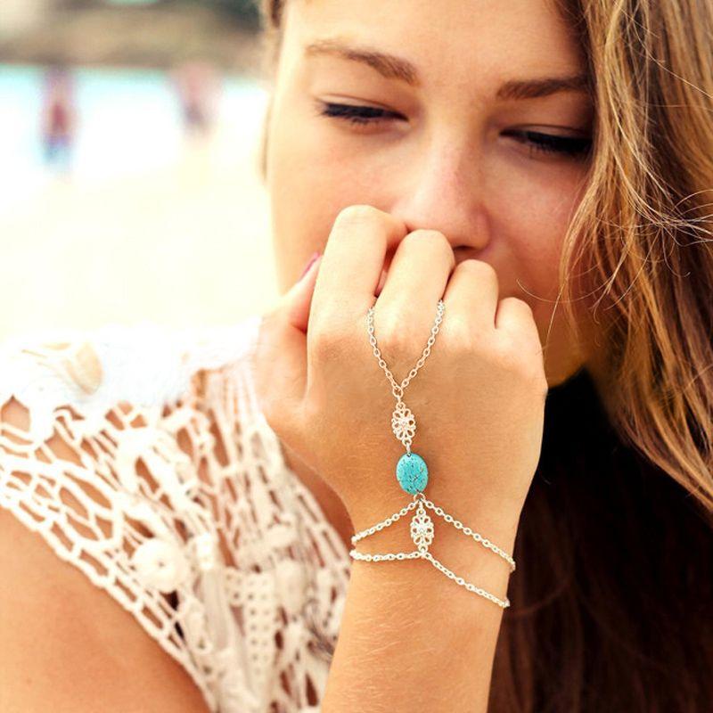 Celebrity Multi Chain Tassel Bracelet Bangle Slave Finger Ring Hand Harness for mon girlfriend birthday gift