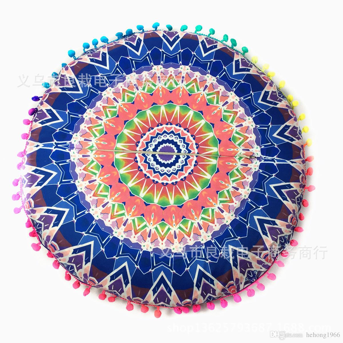 12rz Lotus Feather Mandala Pillows Cases Fodere cuscini stile folk Fodera cuscino rotondo Fodera cuscino in fibra di poliestere digitale stampata