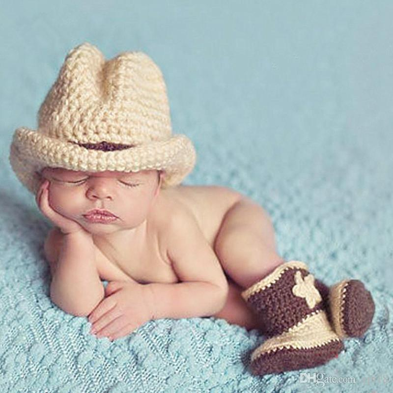 Baby costume photography cotton knitting west cowboy cap newborn photography props baby boots baby girl clothes baby boy clothes baby boy online with