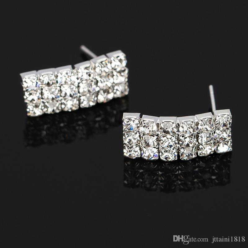 I monili della sposa Elegante cristallo singola fila perline collana bracciale orecchini le donne set di gioielli da sposa