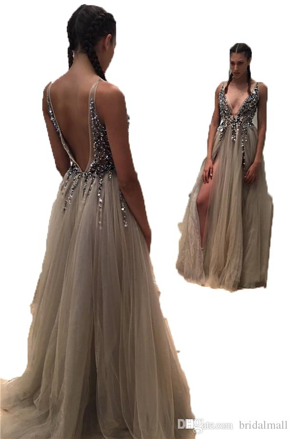 2017 Sexy Deep V Neck Front Split Open Back Tulle Prom Dresses With