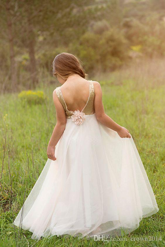 2020 Junior Bridesmaids Dresses For Kids Gold Sequin Flower Girl Dress With Ivory Tulle Floor Length Wedding Girls Christmas Dresses Cheap