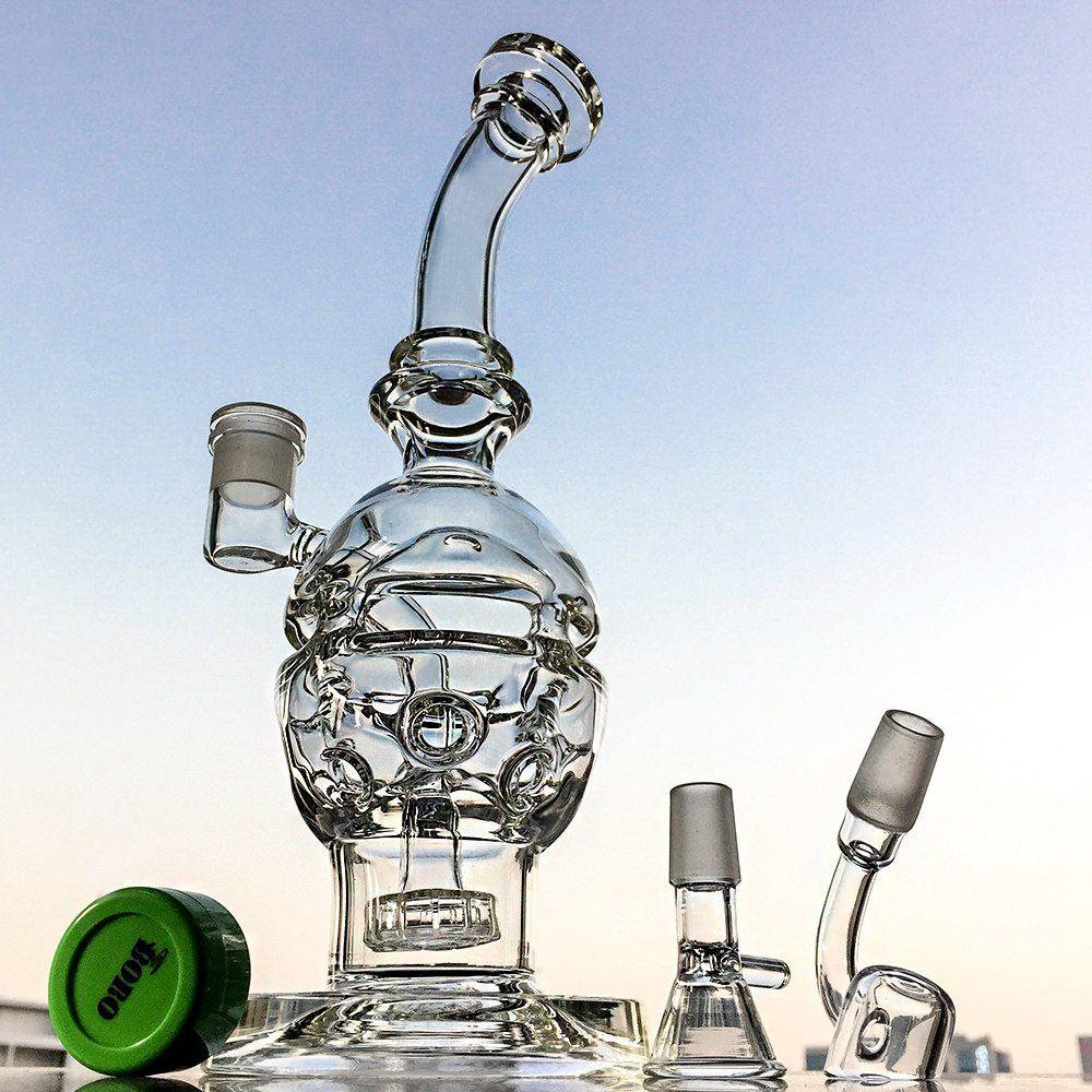 Cam Bongs İsviçre Perc Recycler Su Boruları Ortak Fab Yumurta Yağı Dab Rig Showerhead Perc Nargile Borular Ücretsiz Kargo MFE012 14.5mm