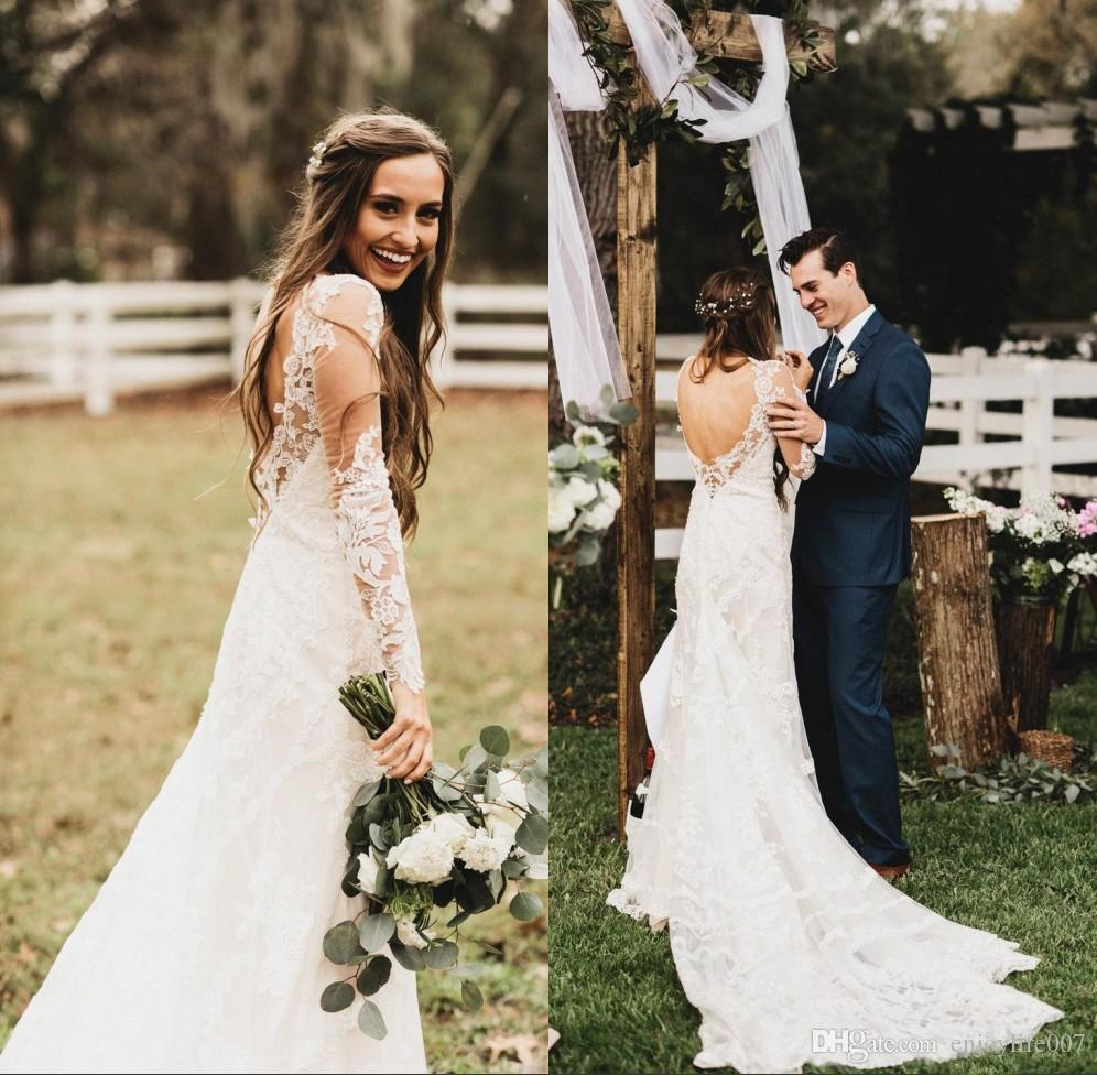 Discount New Vintage Fall White Lace Wedding Dresses 2018 Sheer Long Sleeves Open Back Boho Gowns For Garden Country Alternative