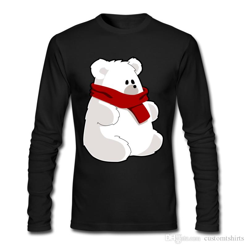 Pure Cotton Fashion Style Shirt White Polar-bear Spring Fall Clothing Tees O Neck Unique Design Shirt