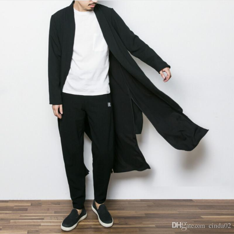 China style mens trench jacket male spring autumn kimono cardigan coat punk fashion casual long trench outwear