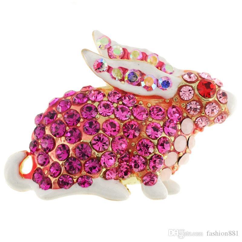 Enamel White and Fuchsia Rabbit Crystal Pin Animal Pin Brooch