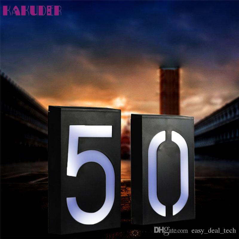 High Quality placa de energia Solar Power LED Light Sign House Hotel Door Address Plaque Number Digits Plate led huis nummer ZJ0552