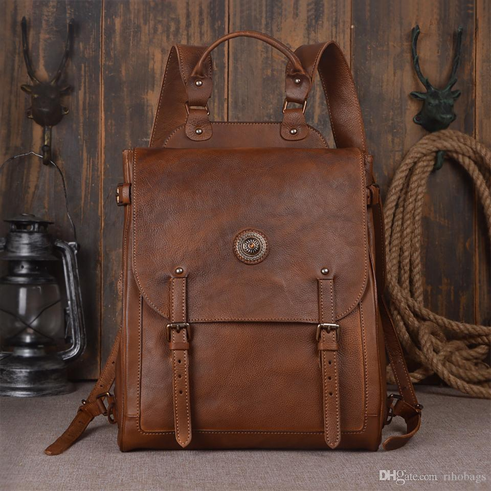 Handmade 15 Inch Laptop Men Classic Vegetable Tanned Genuine Leather ... cee5e610f3