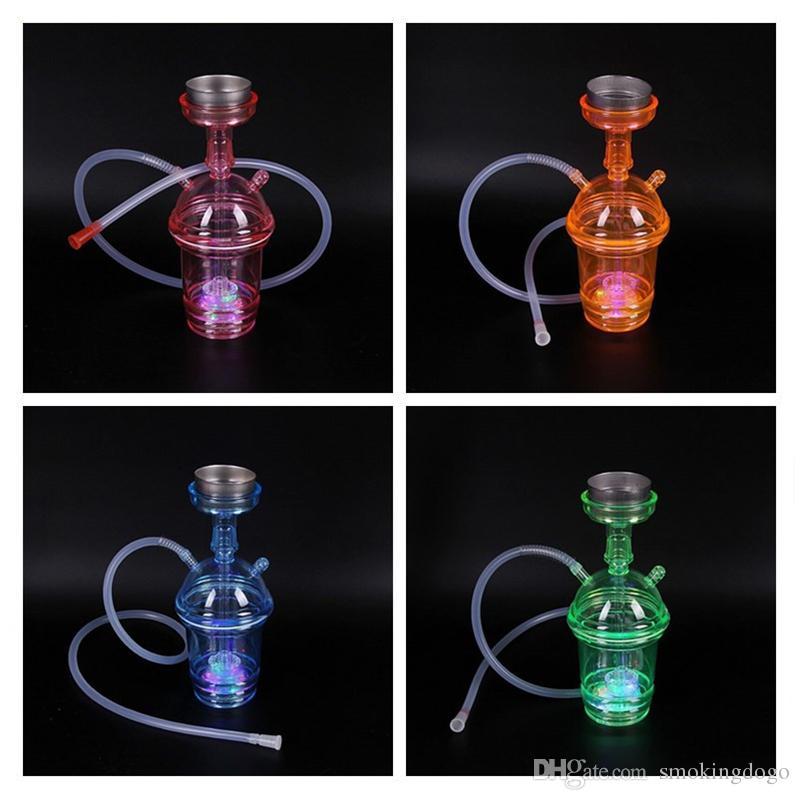 Fumar Dogo 2018 Nuevas llegadas Colorido Mini Plástico Cachimbas Taza de café Agua Shisha Bongs portátil Bongs para fumar con luz LED PH-001