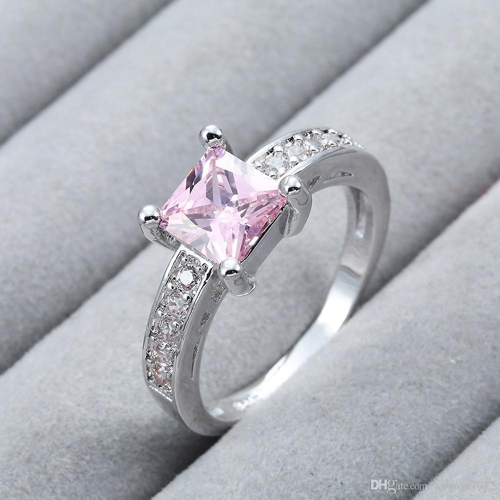 Мода Женщина Ювелирные Изделия Стерлингового Серебра 925 Розовый Драгоценный Камень Свадьба Обручальное Ювелирные Изделия Размеры 6 7 8 9 10