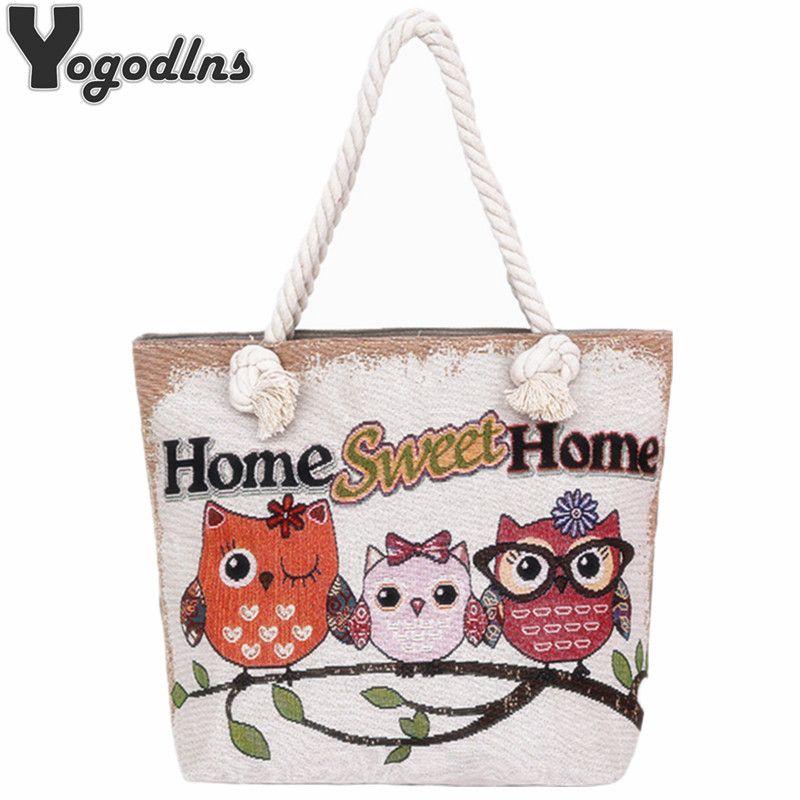 39a5b535cb76f Wholesale Fashion Women Beach Bag Casual Totes Female Canvas Shopping Bags  Ladies Large Capacity Shoulder Bag Cute Owl Printing Satchel Handbags Ladies  ...