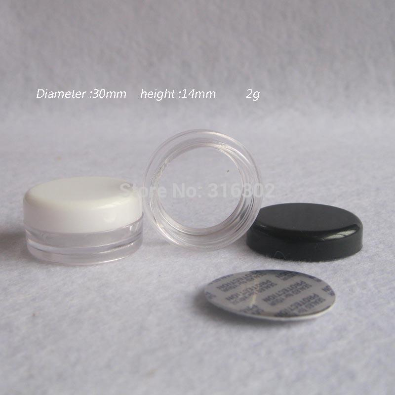 100 x 2g Promotion blanc noir en plastique crème Jar petit mini récipient en plastique