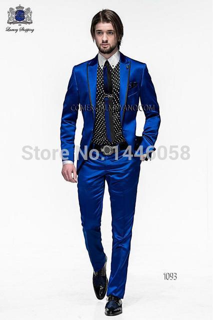 2017 Wholesale 2016 Men Slim Fit Suits Groom Tuxedos Royal Blue ...