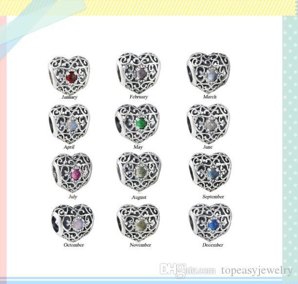 TopeasyJewelry 925 Sterling Silver Birthstone Charm Bead Fit Brand Charms Bracelets Antique Openwork Heart Crystal Beads