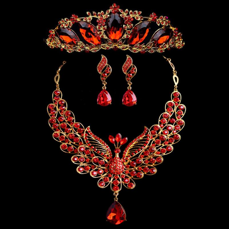 New Fashion Luxurious Red Crystal Bridal Jewelry Sets Gold